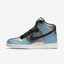 Nike zapatillas para mujer dunk high lx plata metalizado/azul mica/marfil/negro