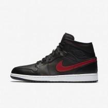 Nike zapatillas para hombre air jordan 1 mid negro/rojo team/blanco/rojo team
