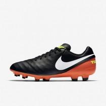 Nike zapatillas para hombre tiempo genio ii leather fg negro/hipernaranja/voltio/blanco