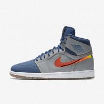 Nike zapatillas para hombre air jordan 1 retro high nouveau gris lobo/azul francés/blanco/hoja oro