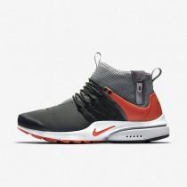 Nike zapatillas para hombre air presto mid utility gris oscuro/negro/gris lobo/naranja máximo