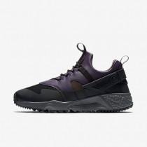 Nike zapatillas para hombre air huarache utility negro/morado dinastía/arcilla empolvado metálico/terreno de juego