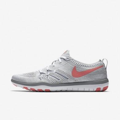 Nike zapatillas para mujer free tr focus flyknit blanco/gris lobo/plata metalizado/melón brillante