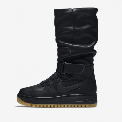 Nike zapatillas para mujer air force 1 upstep warrior negro/marrón claro goma/hematita metálico/negro
