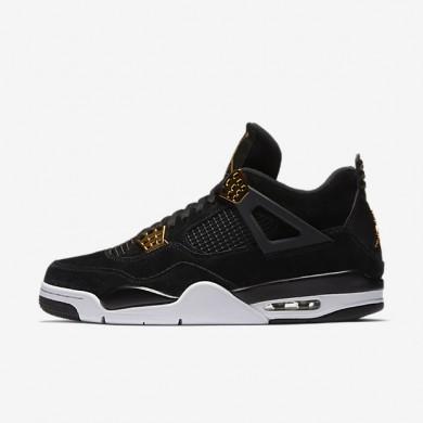 Nike zapatillas para hombre air jordan 4 retro negro/blanco/oro metalizado