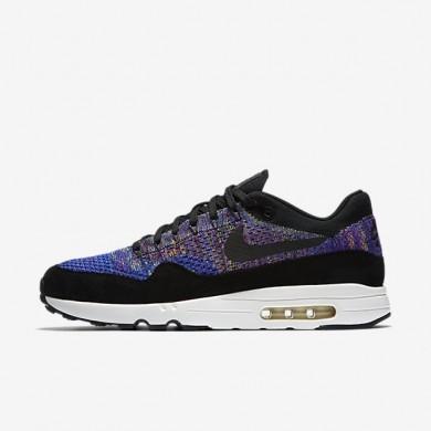 Nike zapatillas para hombre lab air max 1 flyknit azul carrera/morado vivo/vela/negro